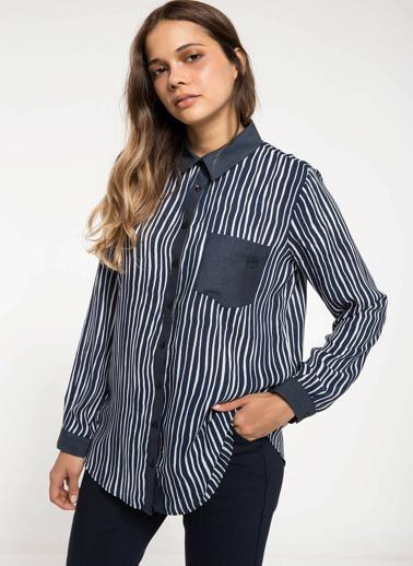 DeFacto Cep Detaylı Çizgili Gömlek Tunik Lacivert